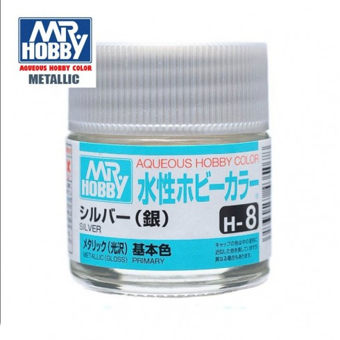 Серебро металлик краска глянцевая металлик 10 мл. MR. HOBBY H8