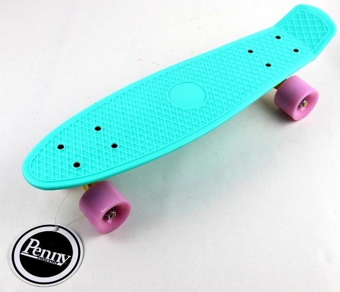 """Пенни борд (Penny Board) 22\"""" \""""Pastel Series\"""" с матовыми колесами розового цвета, Бирюзовый"""