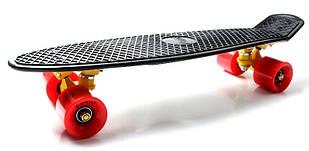 """Пенни борд (Penny Board) 22\"""" с красными колесами, Черный"""