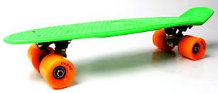 """Пенни борд (Penny Board) 22\"""" с матовыми колесами оранжевого цвета, Салатовый"""