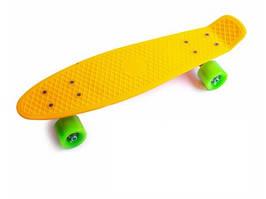 """Пенни борд (Penny Board) 22\"""" с матовыми колесами салатового цвета, Оранжевый"""