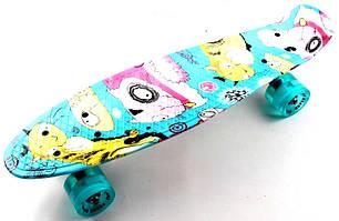"Пенни борд (Penny Board) 22\"" со светящимися колесами и рисунком, \""Cool cat\"""