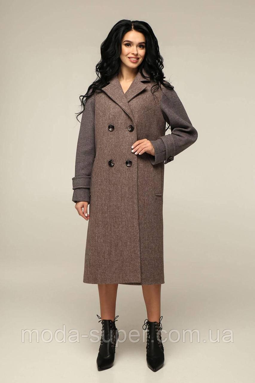 Женское пальто прямого кроя комбинированное   рр 44-54