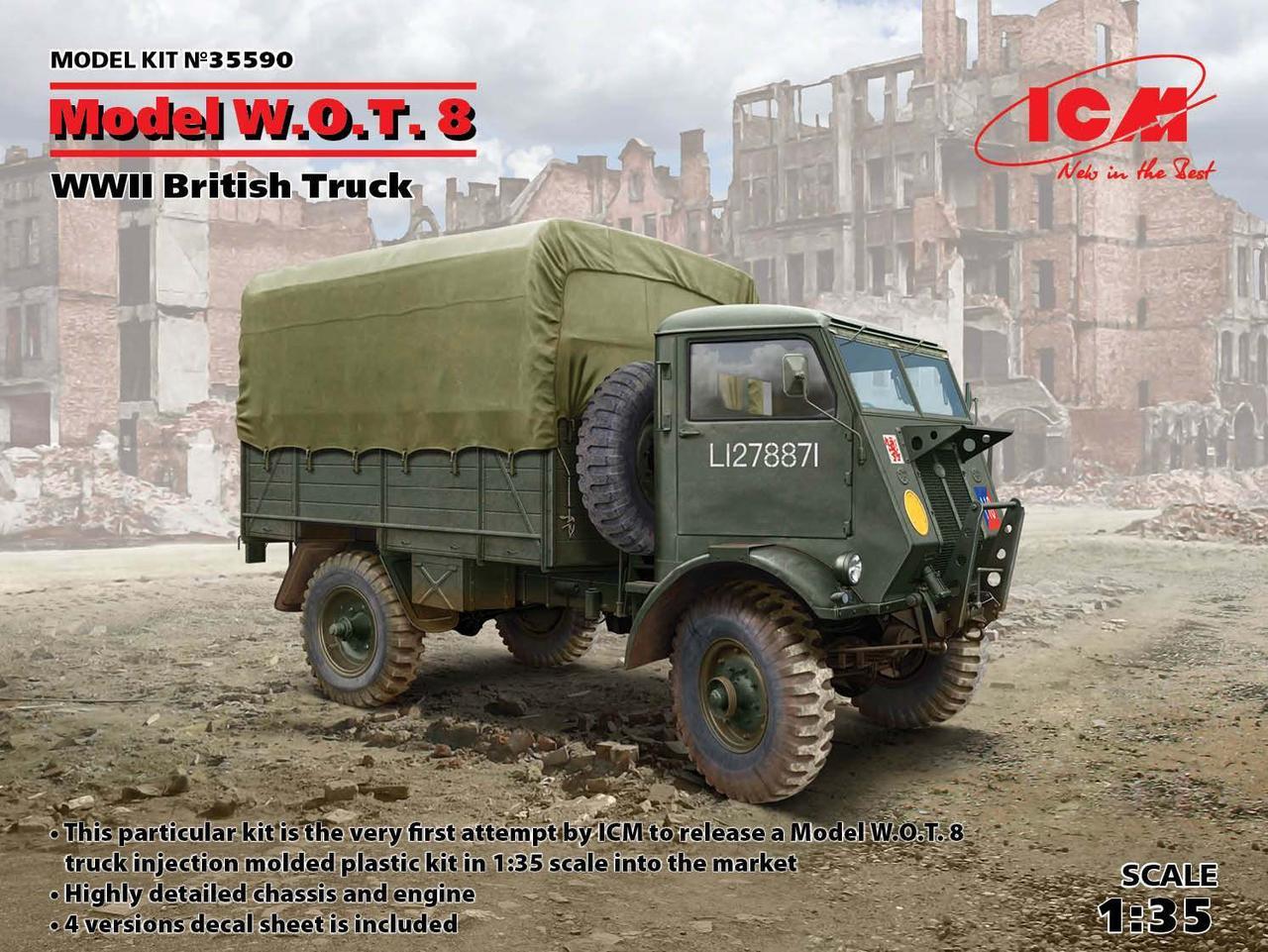 Model W.O.T. 8, Британский грузовой автомобиль ІІ МВ. Сборная модель. 1/35 ICM 35590