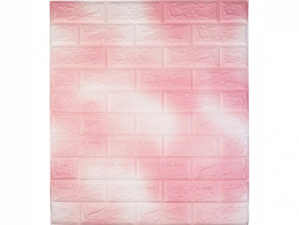 Самоклеющаяся декоративная 3D панель под кирпич / Цвет Бело-Розовый 700*770*7мм