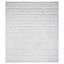 Самоклеюча декоративна 3D панель під цеглину / Колір Білий 700*770*7мм