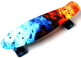"""Пенни борд (Penny Board) 22\"""" со светящимися колесами и рисунком, \""""Огонь и лед\"""""""