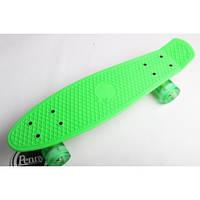 "Пенни борд (Penny Board) 22"" со светящимися колесами салатового цвета, Green"