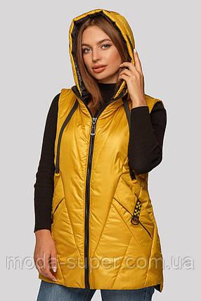 Женская жилетка с сьемным капюшоном рр 48-62, фото 2