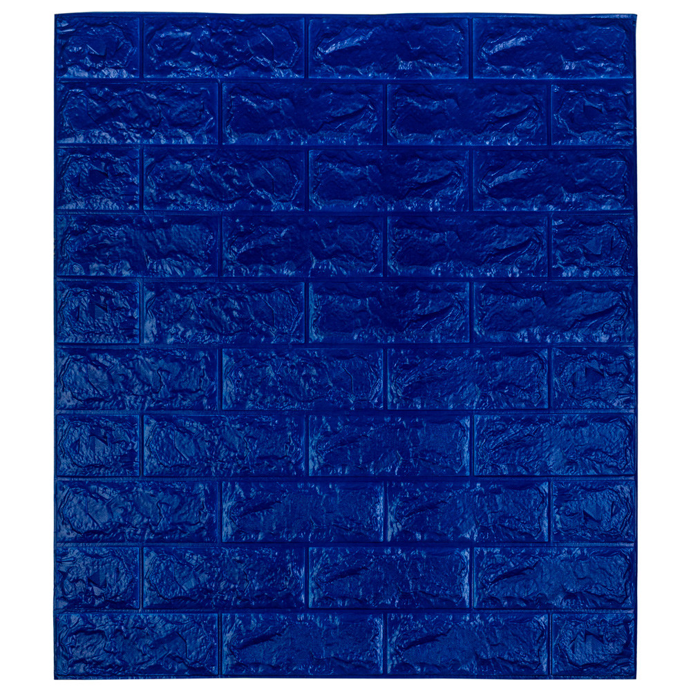 Самоклеющаяся декоративная 3D панель под кирпич / Цвет Синий 700*770*7мм