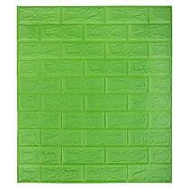 Самоклеюча декоративна 3D панель під цеглину / Колір Яскраво-Зелений 700*770*7мм