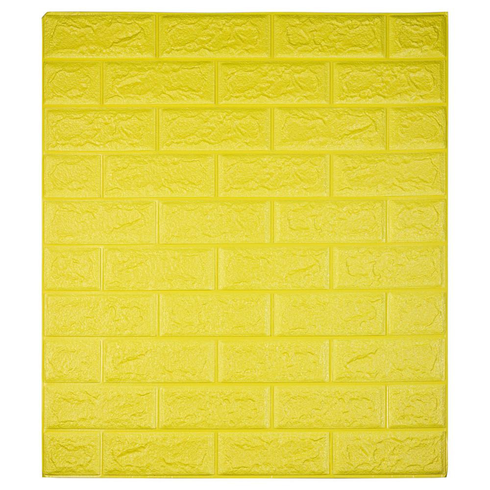 Самоклеюча декоративна 3D панель під цеглу колір жовтий 700*770*7мм