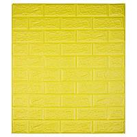 Самоклеюча декоративна 3D панель під цеглу колір жовтий 700*770*7мм, фото 1