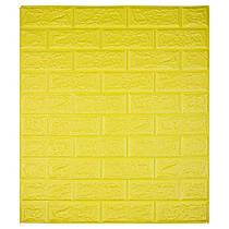 Самоклеющаяся декоративная 3D панель под кирпич цвет желтый  700*770*7мм