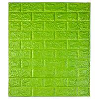 Самоклеюча декоративна 3D панель під цеглу колір зелений 700*770*7мм