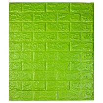 Самоклеющаяся декоративная 3D панель под кирпич цвет зеленый 700*770*7мм