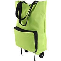 Сумка на колесах господарська складна кравчучка на коліщатках | тачка | візок для покупок зелена