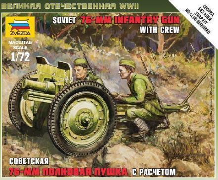 Советская 76-мм полковая пушка. Сборная модель. 1/72 ZVEZDA 6145