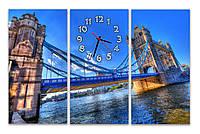 Синие Часы картина модульная для декора дома в гостинную Тауэрский мост 30x60 30x60 30x60 см
