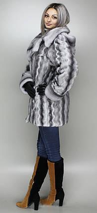Шубка с отложным воротом и капюшоном из эко-меха,серо-голубая норка   рр 44-58, фото 2