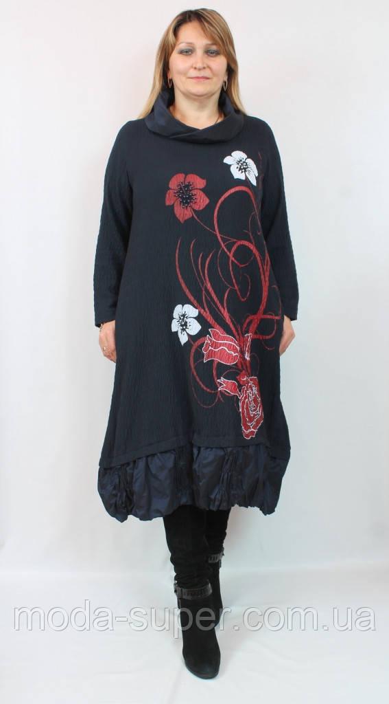Очень красивое платье в цветах с бусинами  Pompadur  Турция рр 52-58