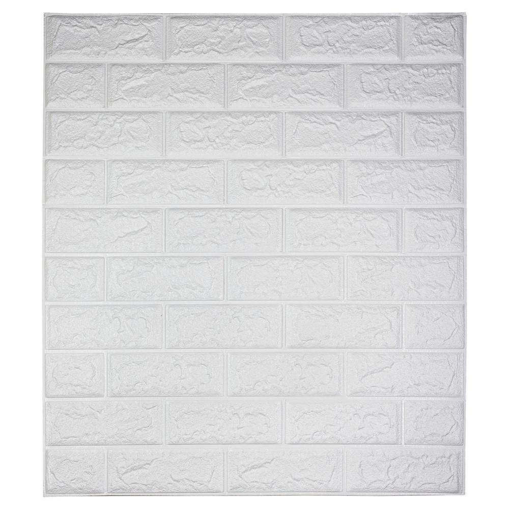 Самоклеющаяся декоративная 3D панель под кирпич / Цвет Белый 700*770*7мм