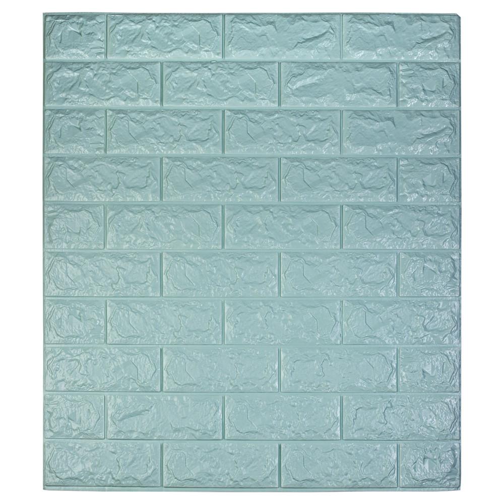 Самоклеющаяся декоративная 3D панель под кирпич / Цвет Бирюзовый 700*770*7мм