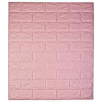 Самоклеюча декоративна 3D панель під цеглину / Колір Рожевий 700*770*7мм