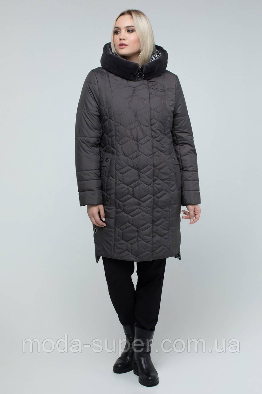 Куртка жіноча зимова з еко-хутром мутона 50-60 рр