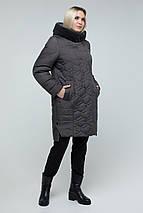 Куртка жіноча зимова з еко-хутром мутона 50-60 рр, фото 3