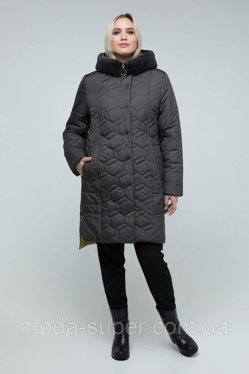 Куртка женская зимняя с эко-мехом мутона  рр 50-60