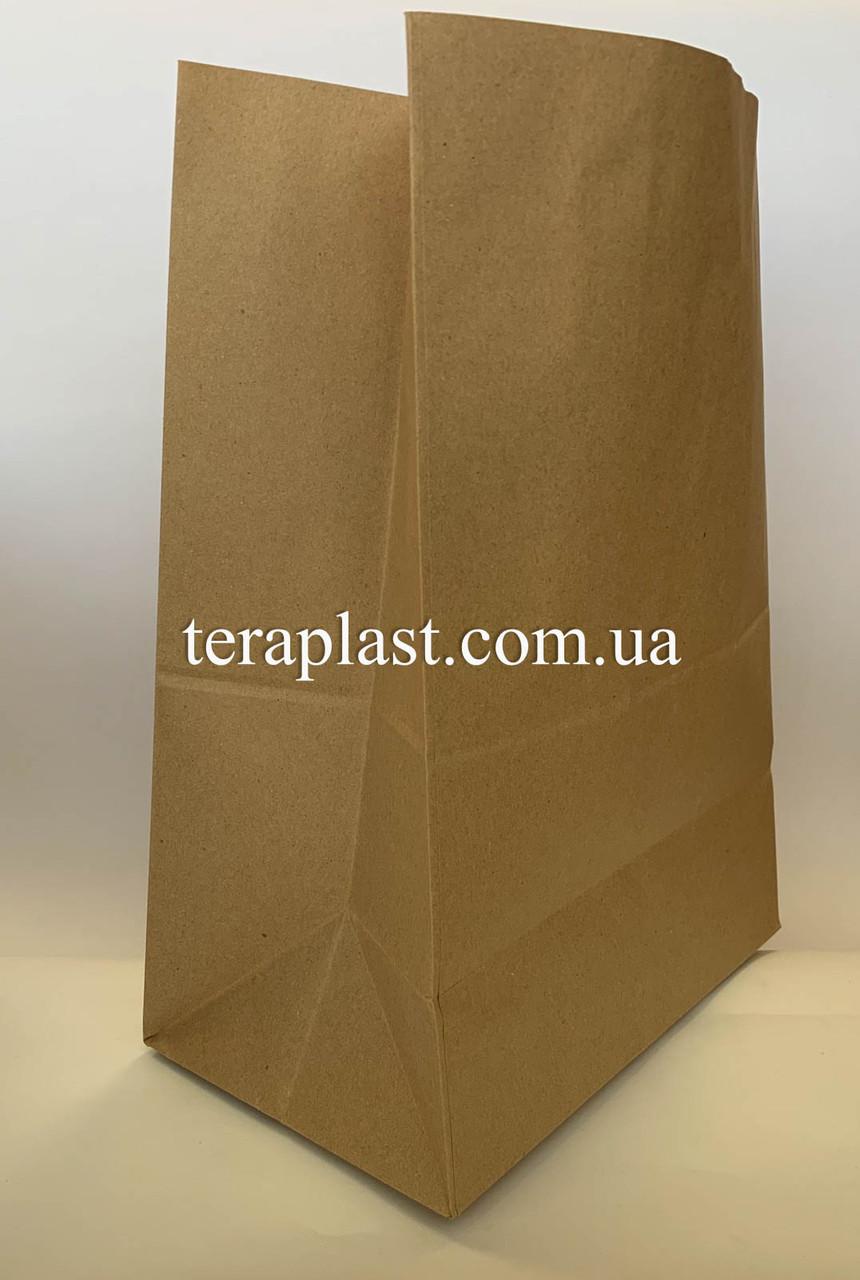 Бумажные крафт-пакеты без ручек бурые 250х150х350