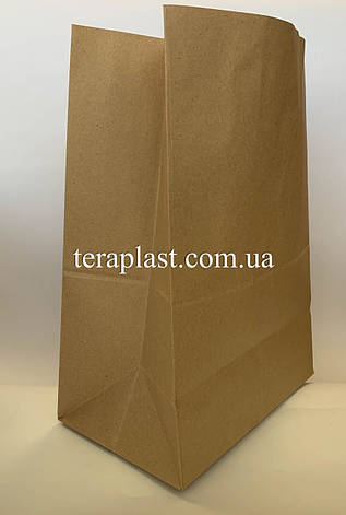 Бумажный пакет бурый без ручек на вынос 250х150х350, плотность 100г/м², фото 2