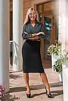 Офисное платье обманка с принтом горох рр 42-56