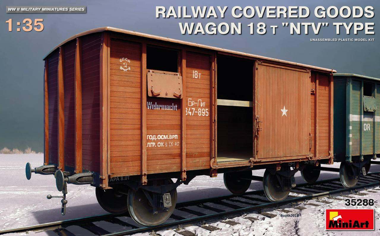 """Залізничний критий вагон 18т. Тип """"НТВ"""" 1/35 MINIART 35288"""