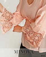 Стильная рубашка из батиста с V-образным вырезом горловины, с расклешенными рукавами с 42 по 48 размеры, фото 8