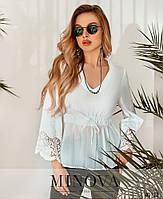 Стильная рубашка из батиста с V-образным вырезом горловины, с расклешенными рукавами с 42 по 48 размеры, фото 7