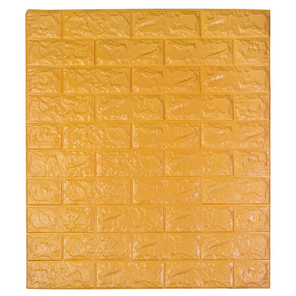 Самоклеющаяся декоративная 3D панель под кирпич цвет оранжевый 700*770*7мм