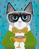 "AS 0065 ""Деловой кот"" Картина по номерам на холсте ART STORY 40x50см"