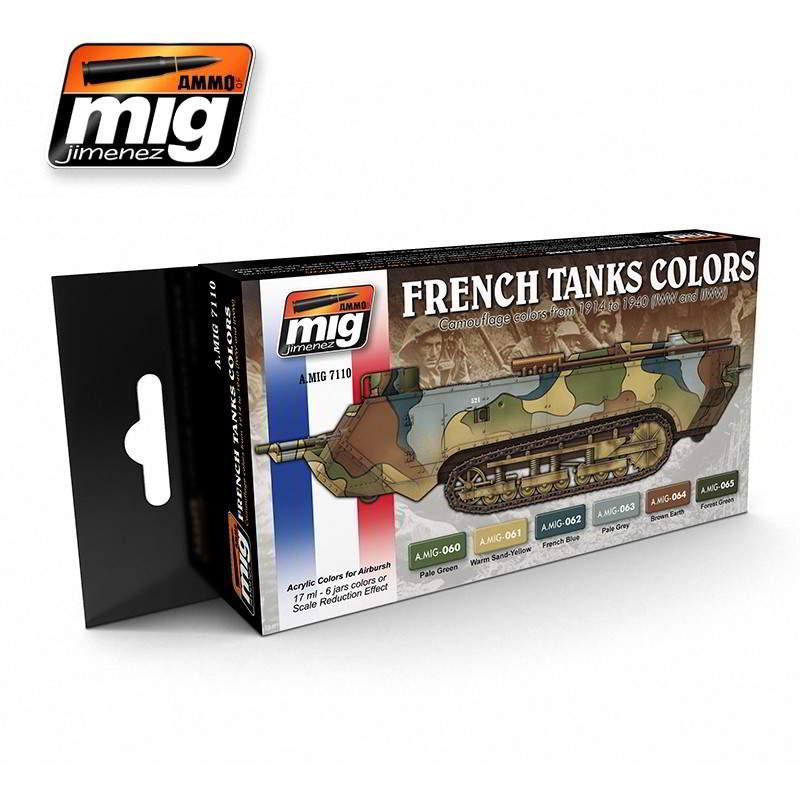 Набор акриловых красок I и II мировая, камуфляж французских танков. AMMO MIG A.MIG-7110