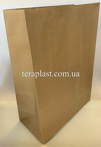 Бумажные крафт-пакеты без ручек бурые 320х160х420, фото 2