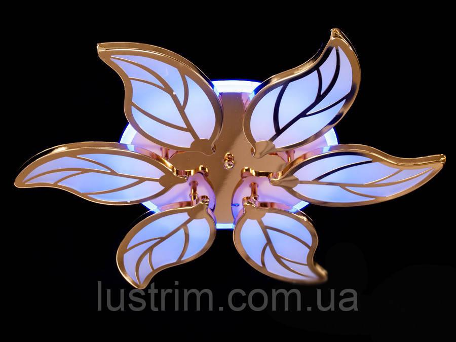 Светодиодная люстра с диммером и LED подсветкой, цвет золото  105W