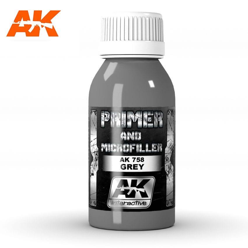 Грунтовка Grey Primer Microfiller 100мл. AK-INTERACTIVE AK-758