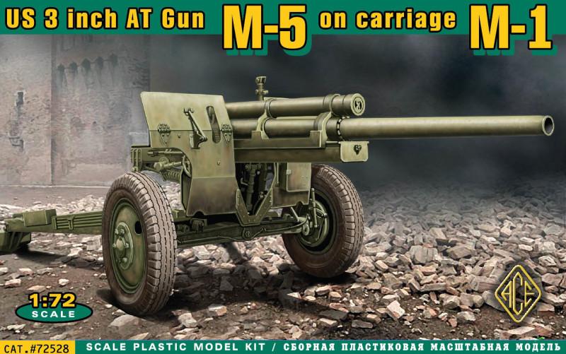 Американская 3 дюймовая противотанковая пушка М-5 на лафете от M-1. 1/72 ACE 72528