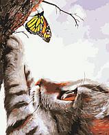 """AS 0413 """"Кот и бабочка"""" Картина по номерам на холсте Art Story 40x50см"""