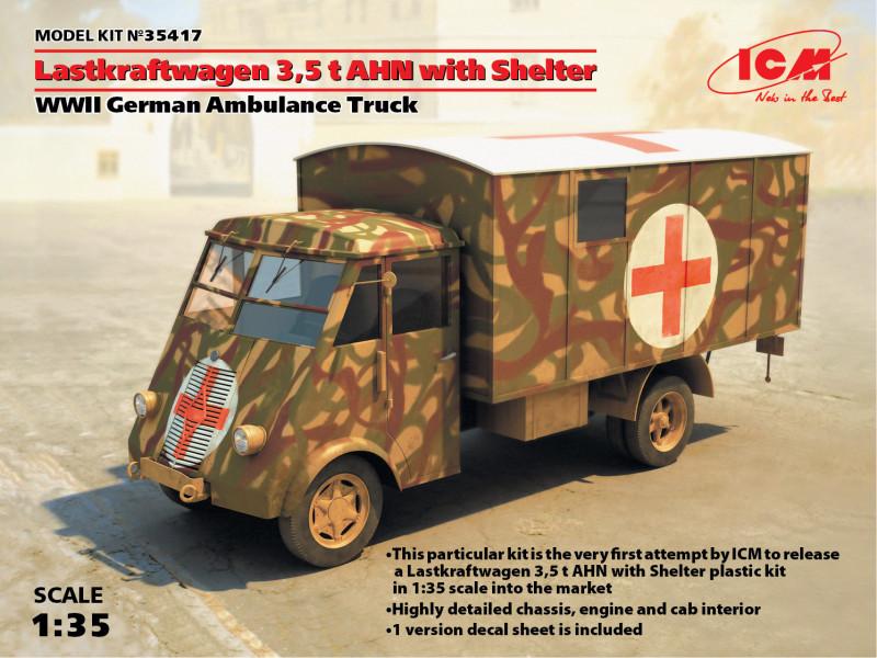 Германский армейский автомобиль Lastkraftwagen 3.5 t AHN c будкой. 1/35 ICM 35417
