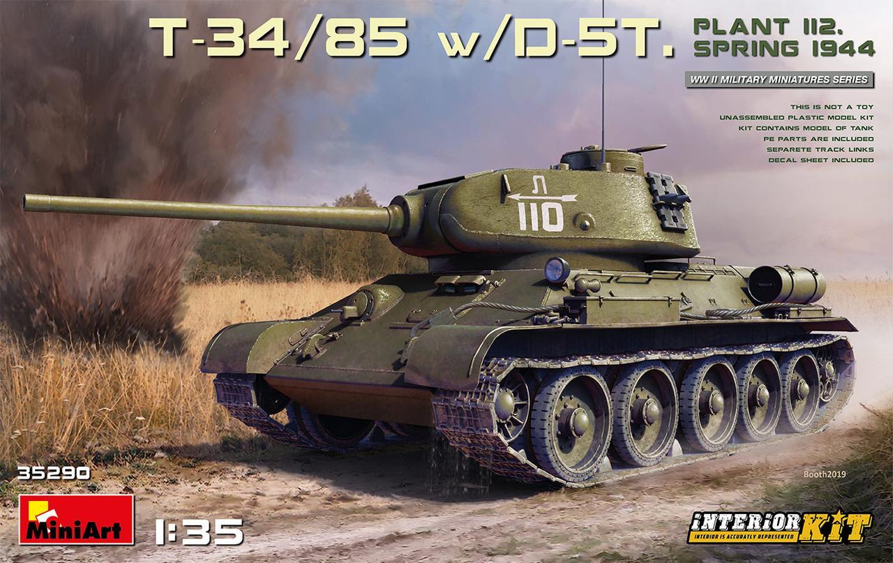 Т-34/85 Д-5Т (112 завод, обр.1944 г.). Сборная модель (с интерьером) танка в масштабе 1/35. MINIART 35290