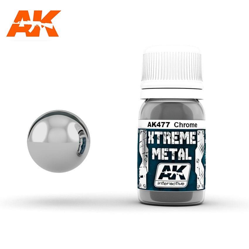 Краска эмалевая металлик металлический хром 30 мл. AK-INTERACTIVE AK-477