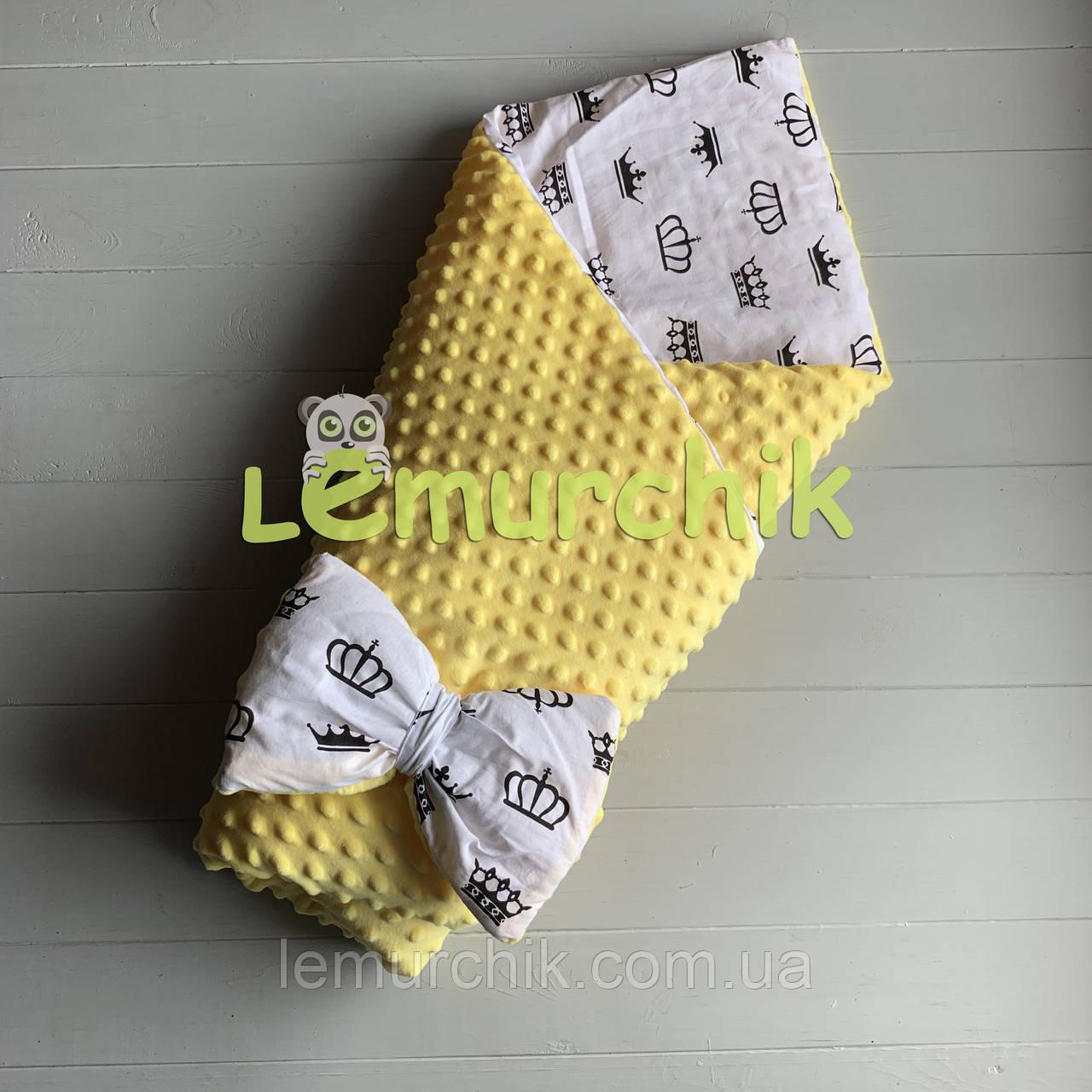 Конверт-одеяло минки на съемном синтепоне желтый Короны