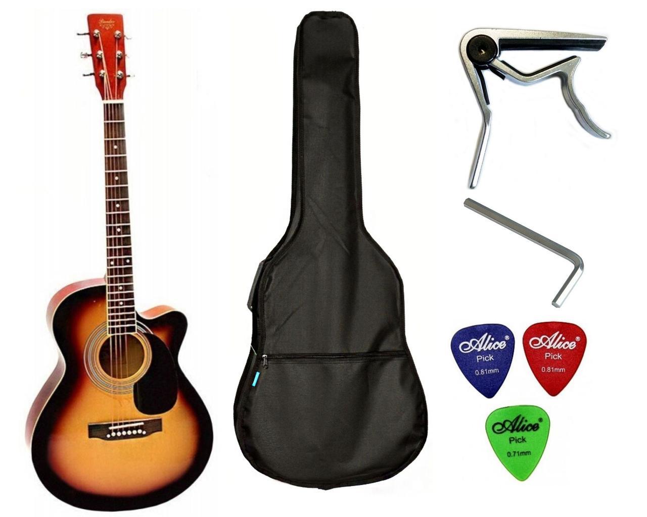 Набор акустическая гитара Bandes AG-831C ST 38+ чехол+каподастр